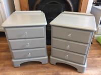 Gorgeous set of solid wood matching bedside drawers painted grey with glass door knobs