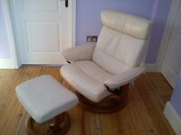 Ekornes Stressless Leather Recliner Armchair with Footstool