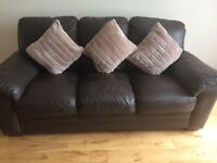 3 seater and 2 seater brown leather couch excellent condition, must be collected