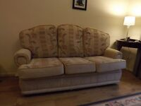 Cottage style 3 seater sofa & 2 chairs living room suite