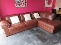 Leather corner sofa unit