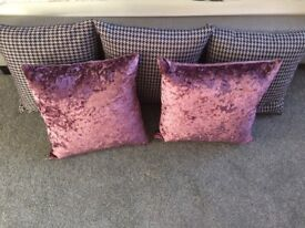 5 grey dogtooth and purple velvet scatter cushions