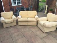 Three piece suite , settee & Two Arm chairs