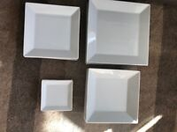 6 PLACE WHITE SQUARE DINNER SET