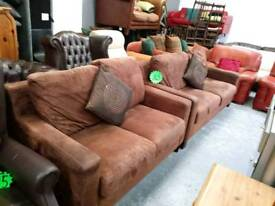 3&2 sofa suite in brown suede for 145