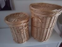 2 Willow Wicker Round Linen Laundry Storage Baskets With Lids