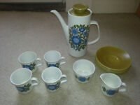 J g meakin 1960s original coffee set, good condition throughout apart from small chip on spout
