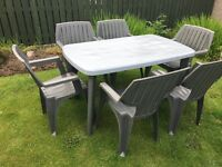 Rectangle patio table with six sturdy chairs...