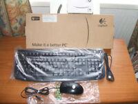 "Logitech ""Windows"" USB Keyboard and USB Mouse."