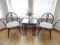 """2 Vintage Solid Elm Ercol """"Fleur De Lys"""" Carver Chairs + Free Nest Of Tables"""