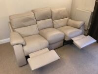 2 seater and 3 seater Reclining beige leather sofas