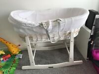 Clair de lune Moses basket white wicker nearly new
