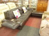 Luxury Dark Brown Leather 3 seater and Foot Stool