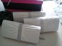 Wedding bridesmaid ivory satin clutch bags... x3... new...