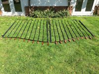 Pair of heavy sturdy iron gates 10 feet wide x 6 feet 6 inches high at centre