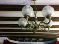 5 bulb Chandelier and two double wall lights