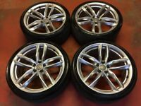 "20"" GENUINE AUDI A5 S LINE 5 DOUBLE SPOKE ALLOY WHEELS TYRES ALLOYS A7 5x112 BLACK EDITION"
