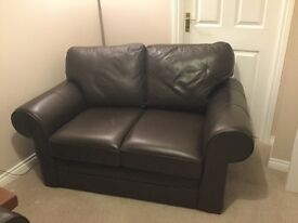 2x brown leather couches 2 seaters
