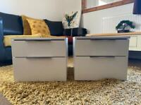 White wooden bedside table 2 drawers x2