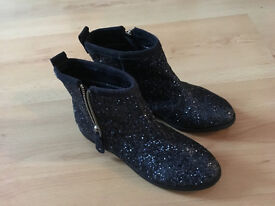 Girls Boots, Next, Sparkly Navy Blue, Size 1