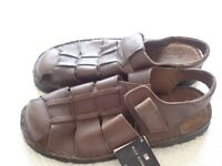 gents brown leather sandals, size 9