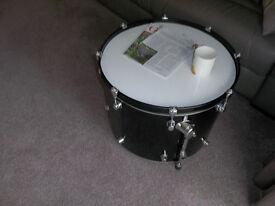 modern funky drum coffee table.
