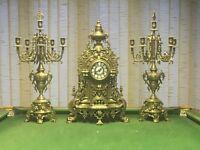Vtg Imperial Clock & Candelabras Mantel Set Louis Xv Rococo Style Solid Brass.