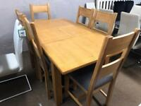 New/Ex-display**Solid oak extendable table and 6 chairs BARGAIN