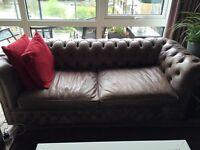 2 handmade Chesterfield leather sofas