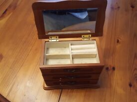 Wooden hand made jewellery box with drawers and mirror