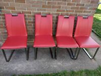 4 Koln red leather dining chairs