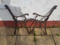 PAIR OF CAST IRON BENCH LEGS FOR RESTORATION