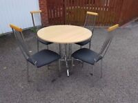 Round Italian Wood Chrome Table 4 Chairs FREE DELIVERY 429