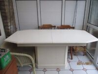 Large White Dining Table . Finished in acrylic. L. 180cm. x W. 90cm. Extension 58cm