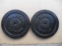 Marcy Cast Iron Weights 2 x 20kg bodybuilding crossfit