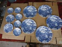 Blue and White plates, 11 pieces in the cottage style