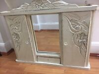 Stunning carved wood shabby chic wall cupboard or vanity