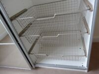 4 Ikea pax shelf baskets and one hanging rail (for 75cms wide wardrobes).