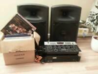 "Dj equipment 700 watt amp , 700+ speakers mixer with multi effect and 90+ 12"" dance records"