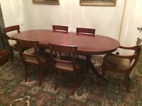 Elegant solid wooden dining table and 6 chairs