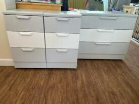Grey and white three drawer and two three drawer bedside chest of drawers