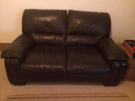 DFS Dark Brown Leather Two Seater Sofa -- Great Condition