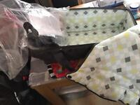 Baby push chair + car seat + carry basket with rain cover