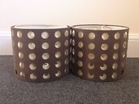 3 Brown / Beige Ceiling Lampshades, 2 in a matching pair