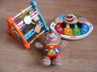 Three toys for a young child, toddler, 2 battery operated. Learn and play.
