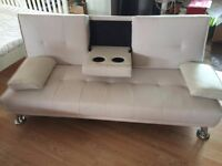 Ex-Display White Faux Leather Sofa Bed inc. 2 Drink Holders (FREE LOCAL DELIVERY!!!)