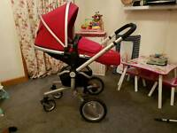 Sliver cross Pram,