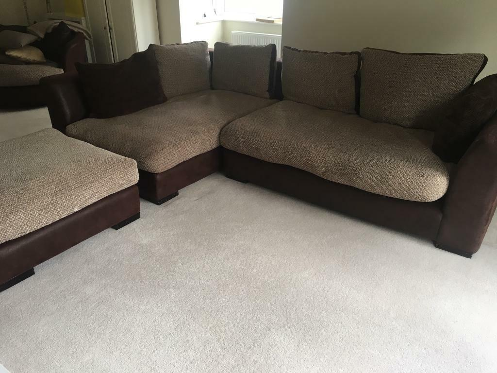 DFS L Shaped Corner Sofa With Large Footstool