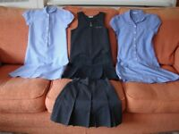 GIRLS SCHOOL PINAFORE and SKIRT in GREY AGE 10-11 YEARS plus TWO DRESSES AGE 11-12 YEARS.