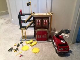 Imaginext firestation, engine, figures and accessories